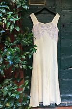 Vintage 1930s Bias Cut Silk Lace Gown Dress M