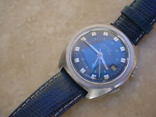 Vintage Collectible Bulova Wrist Alarm In Stainless Steel Case. Blue Dial.