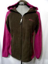 COLUMBIA Fleece Sweatshirt Jacket M Brown Pink ZipUp Hood coat Plush Sports Jog