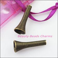 10Pcs Speaker Tube Connectors Bead Caps Charms 9x25mm Antiqued Bronze