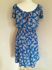 F&F Blue Floral Skater Fit and Flare Tea Dress Size 10