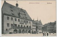 Ansichtskarte Heilbronn - Marktplatz mit Rathaus und Passanten - schwarz/weiß