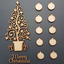 MDF Christmas Tree Set 10 free baubles + Merry Christmas -Card Blank Shape 150mm