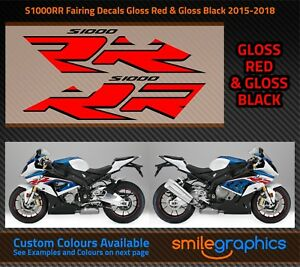 BMW S1000RR Fairing Decals. 2015-18 - Gloss Red & Gloss Black Stickers