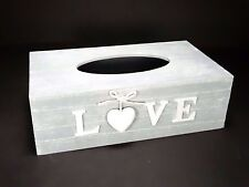 Shabby Chic GREY Tissue Box Wooden With 1 Decorative Heart And LOVE Word #11