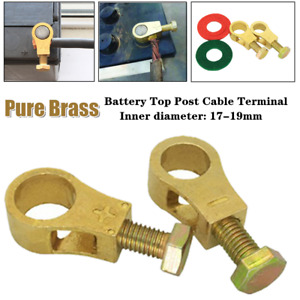 2xSolid Brass Heavy Duty Battery Top Post Cable Terminal Wire Terminals 17-19mm