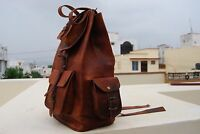 Real genuine leather Vintage Backpack laptop satchel brown vintage handmade bag