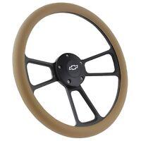 "1969-1989 Chevrolet 14"" Tan Grip Black Muscle Steering Wheel Set Chevy Chevelle"