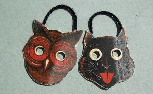 DOLLHOUSE MINIATURE ~ HALLOWEEN ~ VINTAGE CAT & OWL MASKS