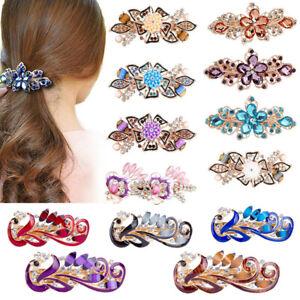 Women Rhinestone Hairpin Flower Barrettes Hair Clip Spring Clip Hair Accessories