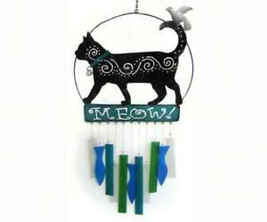Wind Chime CAT'S MEOW Handcrafted Glass with Metal (GEBLUEG443)