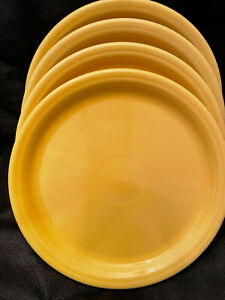 "Fiestaware Art Deco 9"" Marigold/Sunflower Yellow Plates - Set of 4 - Never Used"