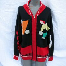 Vintage Mens Cardigan Sweater Bowling Pins Zip Up 958 Bowler Blanc Bleu