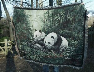 Giant Panda Bears in Bamboo Forest Afghan Woven Throw Blanket