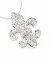 French Inspired Flower- Fleur De Lis Pendant- Sterling Silver with Cz | *New!