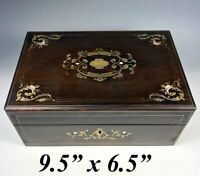 Antique French Boulle Rosewood Jewelry Box, Casket, Mother of Pearl Silver Inlay
