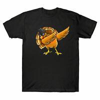 Funny Dabbing Turkey Men's T-shirt Thanksgiving Turkey Day Tee Cotton Gift