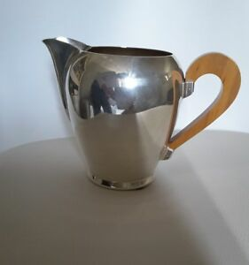 NEW ALESSI BOMBE SILVER PLATED MILK JUG WITH APPLE WOOD HANDLE
