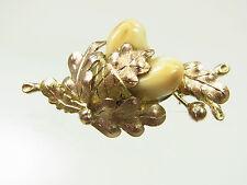 Schöne antike Grandeln Blatt Brosche 585 Gelbgold Eichenlaub Handarbeit
