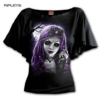 Spiral Ladies Black Witch GOTH DOLL Purple Demon Bat Wing Top All Sizes