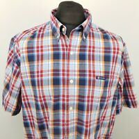 Chaps Mens Vintage Shirt 2XL Short Sleeve Blue Regular Fit Check Cotton