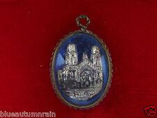 † SCARCE MERCURY ANTIQUE BLUE ENAMELED ST ANNE DE BEAUPRE GLASS BUBBLE PENDANT †