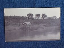Yangtze River China/Chinese Fisherman's Nets & Shack/Sepia Snapshot/Early 1900s