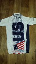 K-Swiss USA Kwick Dri White Red Blue Short Sleeve Cycling Jersey Womens Small