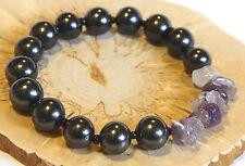 Shungite bracelet with freeform Amethyst beads EMF healing stone