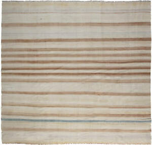 Indian Dhurrie Striped Cold Blue, Brown and Beige Handmade Rug BB6535