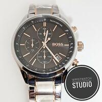 Brand New Hugo Boss Men's  Grand Prix Silver Chronograph Watch HB1513473