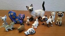 11 Vintage Retro Ceramic Cat Kitten Figurine Lot Siamese Bobble Head Lefton USA