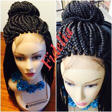 """Fully hand braided lace front box braid wig color 1B 28"""" with Baby hair"""