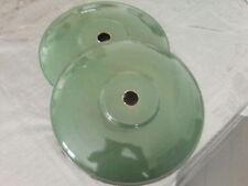 2 ANCIENS ABATS JOUR SUSPENSION USINE  EN TÔLE EMAILLEE VERTE 30 cm diamètre