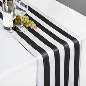 lovemyfabric 2 Inch Striped Satin Table Runner for Wedding and Special Occasions