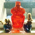 VINTAGE Handblown VIKING MCM RAINBOW GLASS Orange Persimmon OWL BOTTLE - EUC