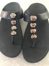 Fit flop Sz 10 Black Beads Flip Flop Thong Sandals Style 887-001