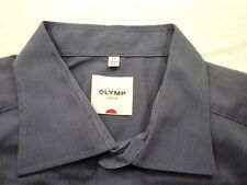 E7831 Olymp Luxor Businesshemd Kombimanschette 43 dunkelblau meliert gestreift