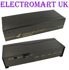 4 WAY 1 IN 4 OUT HDMI DISTRIBUTION SPLITTER AMPLIFIER 1080P