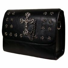 Banned Gothic Faux Leather Black Studded Cross Handbag With Chain Detailing