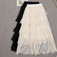 Women Floral Lace Long Skirt Layered Ruffle Midi Elastic Waist A Line Summer New