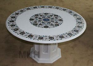 """36"""" Marble Coffee Table Top Handmade Inlay Work Dining Tables Marquetry Vintage"""