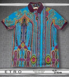 Etro NWOT Men's $460 Vibrant Blue Luxury Cotton Polo Shirt, Iconic Paisley Print