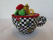 2001 Mary Engelbreit Fabric Teacup Pincushion Sewing Box Figure Me Pincushion