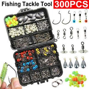 300Pcs Fishing Jig Hooks Accessories Sea Tackle Plier Slides Swivel Set Kit Box