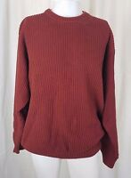 Vintage LL Bean Knit SWEATER 100% Cotton Ribbed Crewneck Pullover Mens L Rust