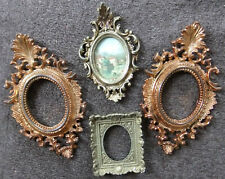 VINTAGE, ORNATE FAUX GOLD OVAL PICTURE FRAMES - ALL PLASTIC AND REQUIRING GLASS