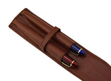 Coffee Genuine Leather Double Pen Case , Top Washed Cowhide