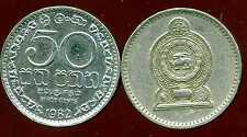 SRI LANKA  50 cents 1982  ( bis )