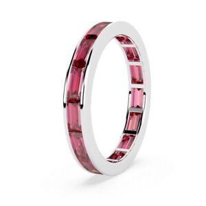 1.50 Carat AAA Natural Burmese Ruby Baguette Full Eternity Ring  White Gold